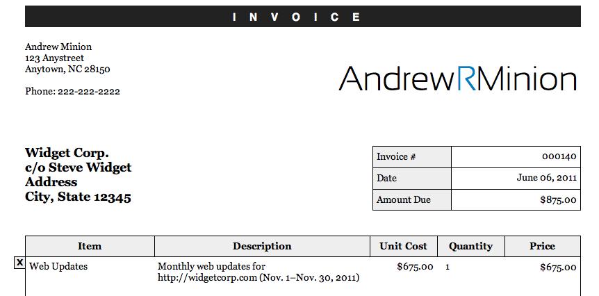 Editable Invoice v3
